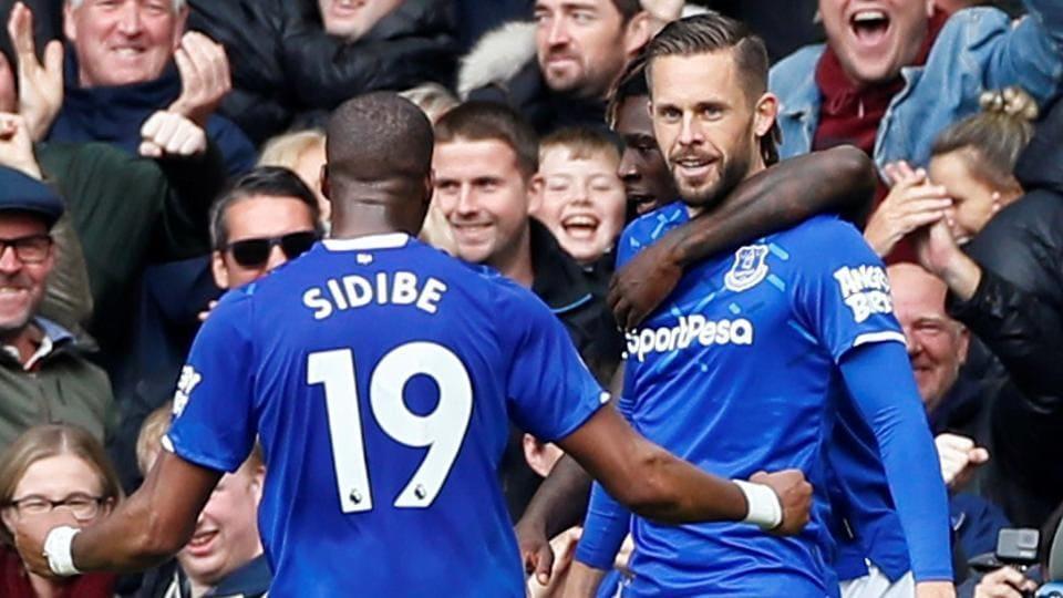 Everton's Gylfi Sigurdsson celebrates scoring their second goal.