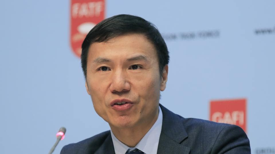 Financial Action Task Force (FATF) President Xiangmin Liu speaks during a media conference at the OECD headquarters in Paris at which major decisions regarding terror financing and  money laundering were put forth.