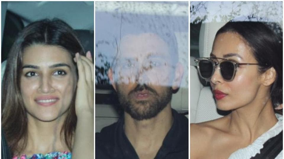Kriti Sanon, Hrithik Roshan and Malaika Arora spotted arriving for Farah Khan's party.