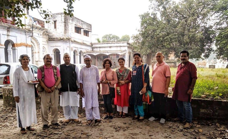 Heritage enthusiasts at Kakori Shareef on Sunday.