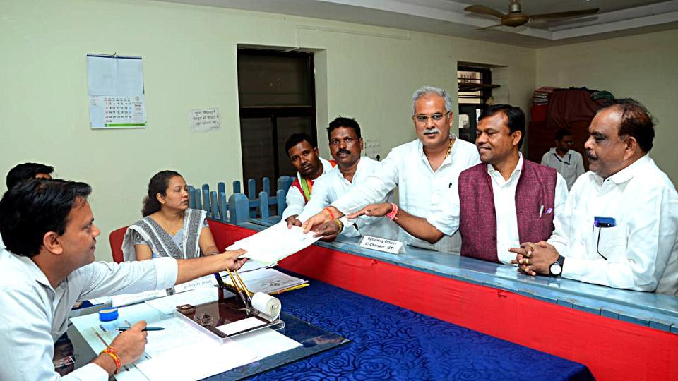 Congress candidate Rajman Benjam files nomination for the bye-election from the Chitrakot Assembly seat as CM Bhupesh Baghel also present, on Monday.