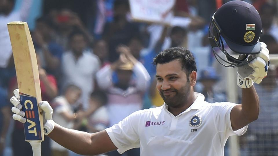 India's Rohit Sharma celebrates his double century.