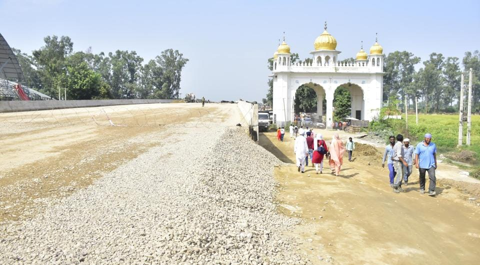 The under construction road which will give  Indian pilgrims access to  Kartarpur Sahib in Pakistan.
