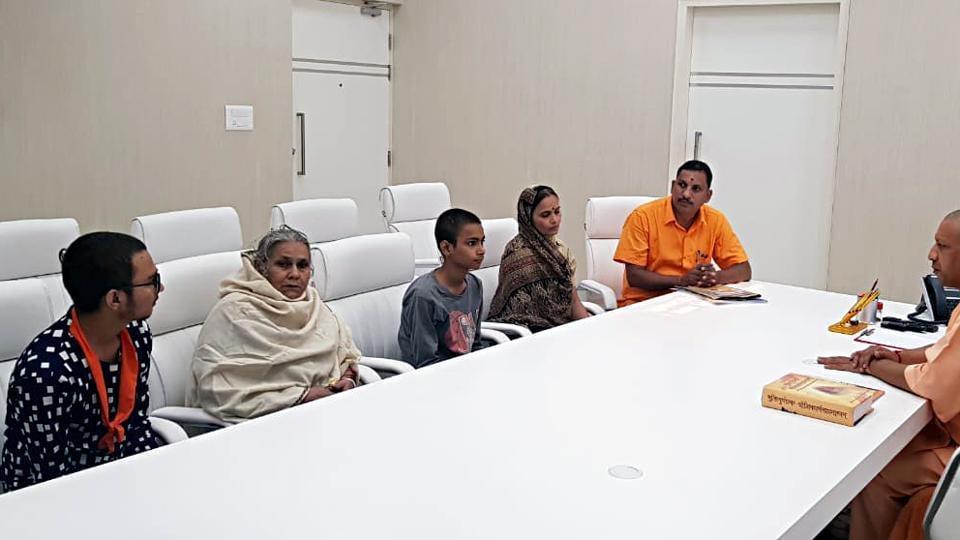 Family members of murdered Hindu Samaj Party leader Kamlesh Tiwari meet Chief Minister of Uttar Pradesh Yogi Adityanath in Lucknow on Sunday.