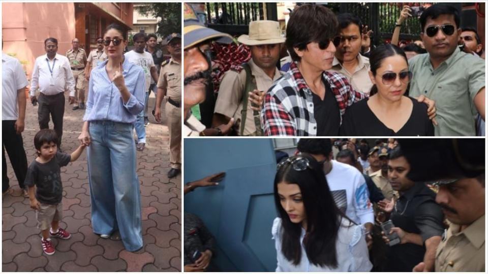 Kareena Kapoor with her son Taimur, Shah Rukh Khan with wife Gauri and Aishwarya Rai after casting their vote.