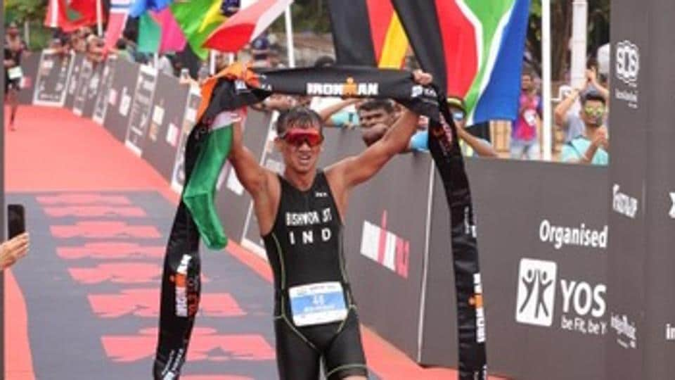 Bishworjit Singh Saikhom completed the Ironman 70.3 triathlon - 1.9km swim, 90km cycling and a 21km run, in four hours 42 minutes and 44 seconds