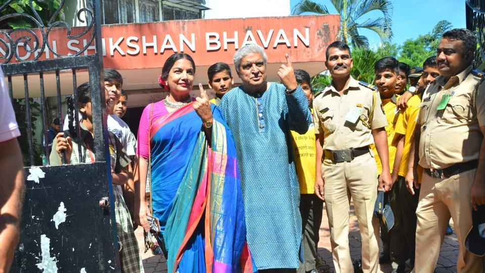 Actor Shabana Azmi and lyricist Javed Akhtar after casting their vote.