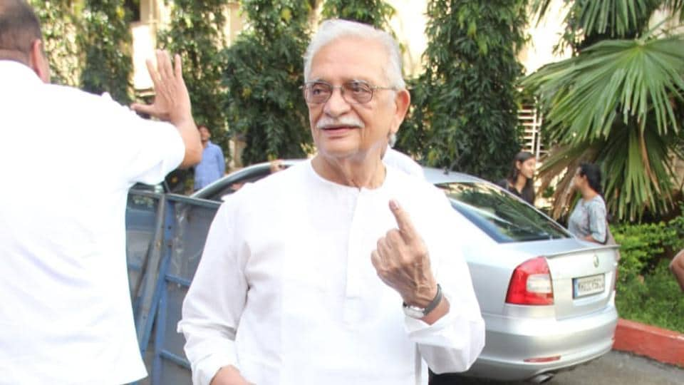 Lyricist Gulzar after casting his vote.