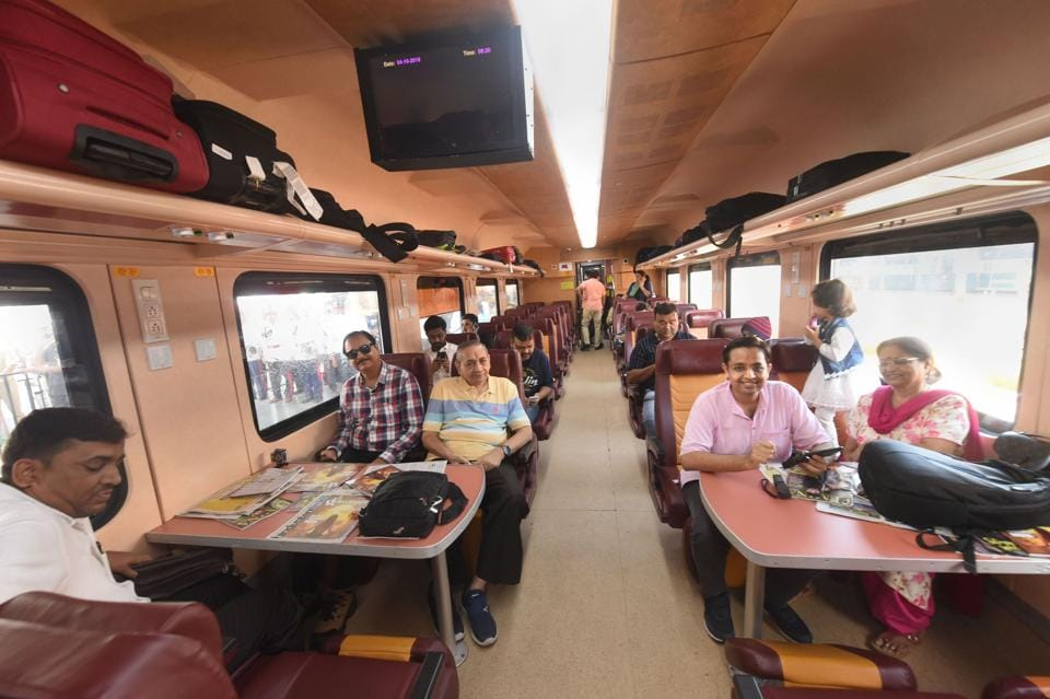 An inside view of a coach of the newly launched Lucknow-Delhi Tejas Express, India's first 'private' train by IRCTC (Indian Railway Catering and Tourism Corporation), at in Lucknow.