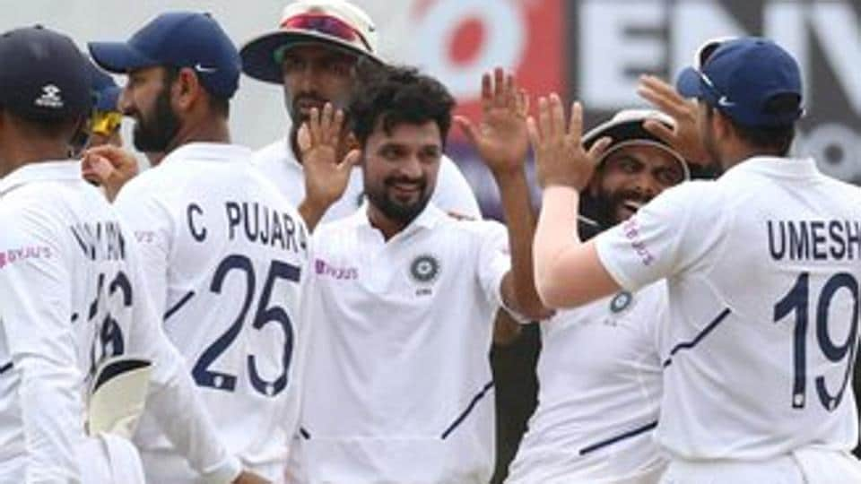 Shahbaz Nadeem celebrates after taking a wicket.