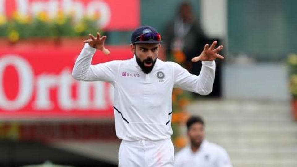 Indian captain Virat Kohli looks animated on the field during India's third Test match against South Africa in Ranchi.