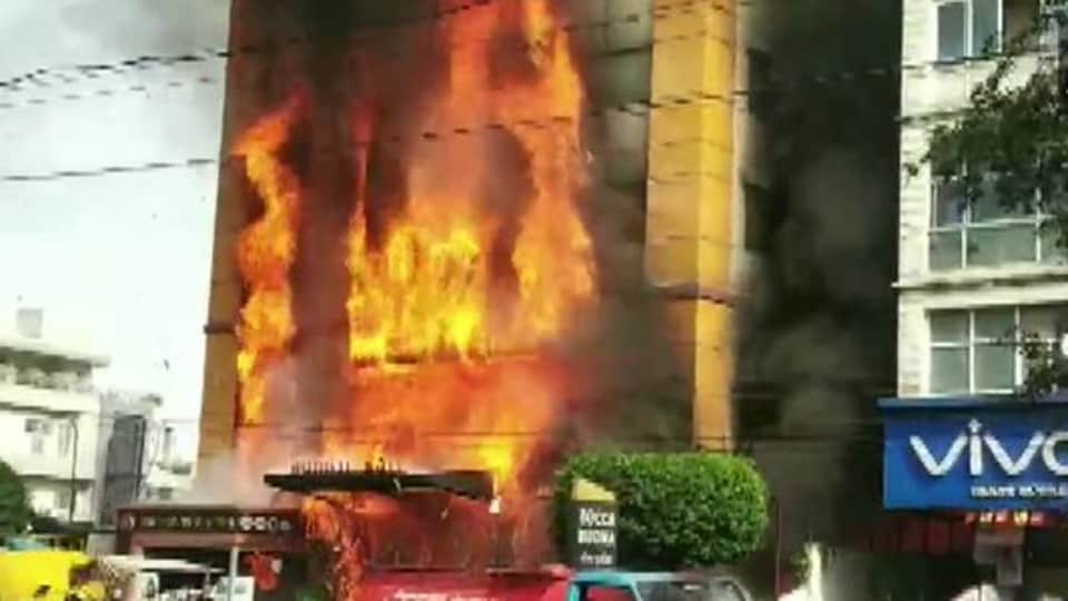 Fire engulfed the front part of the Golden Gate hotel in Indore