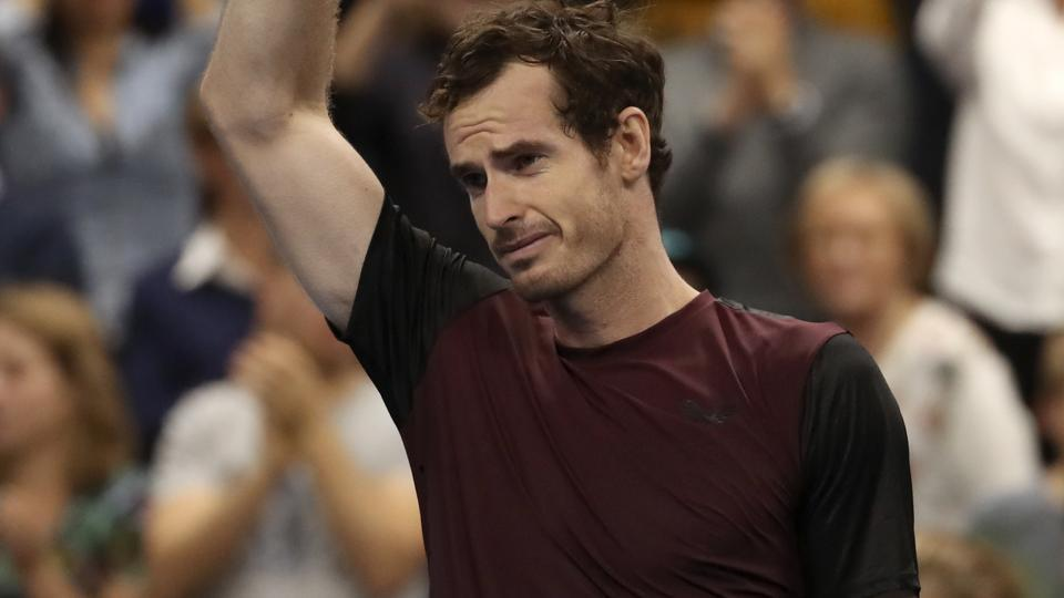 Andy Murray of Britain reacts after winning the European Open final tennis match.