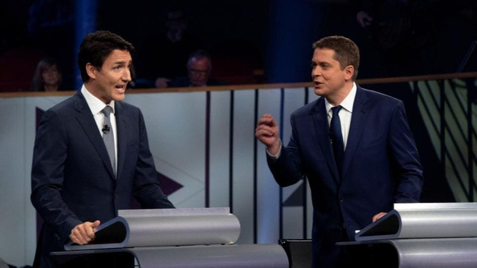 Liberal leader Justin Trudeau and Conservative leader Andrew Scheer take part in the Federal leaders French language debate in Gatineau, Quebec, Canada.