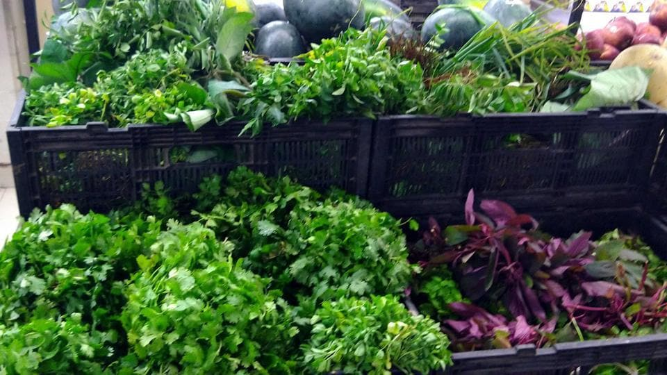 Heavy rainfall in the adjoining parts of the district has damaged the leafy vegetables, resulting to an acute shortage.