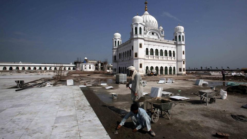 Labourers work at the  Gurdwara Darbar Sahib in Kartarpur, Pakistan. It will be opened in November Sikh pilgrims.