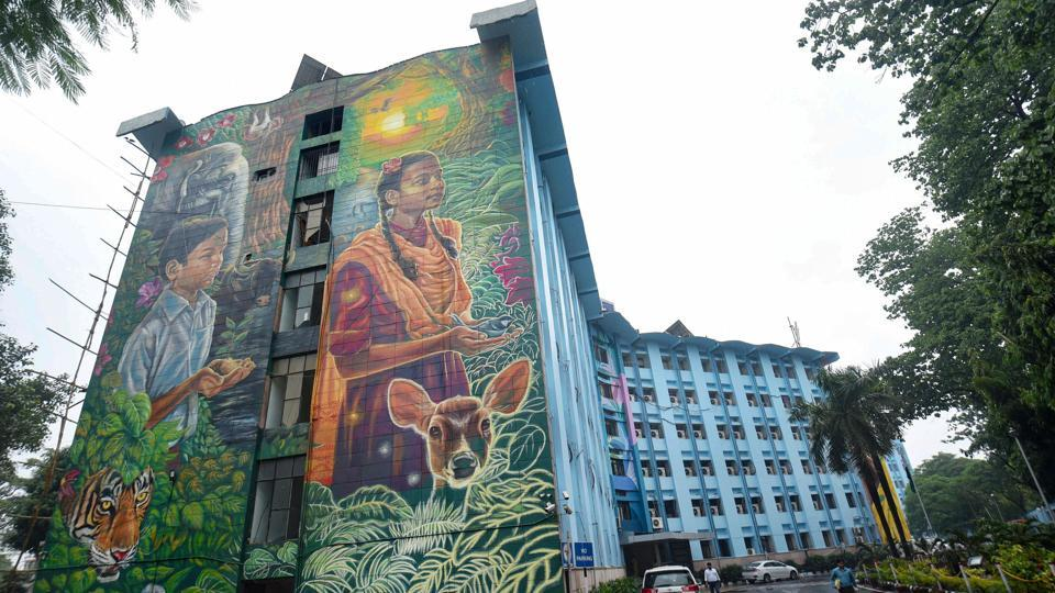 A view of murals on a wall of Bihar government's Vidyut Bhawan in Patna. The building has been transformed using huge murals depicting the theme of energy conservation.