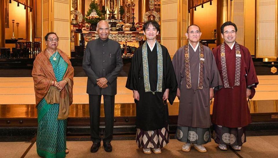President Ram Nath Kovind and his wife Savita during a visit to the Tsukiji Hongwanji Buddhist Temple in Tokyo, Japan.