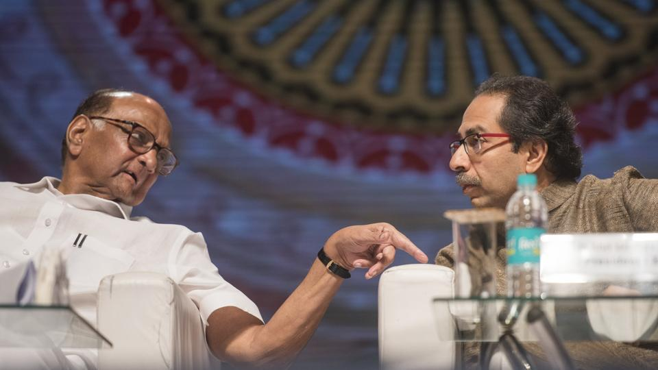 President of NCP Sharad Pawar and Shivsena chief Uddhav Thackeray during celebration of 100 years completed for Saraswat bank at NSCI Dome in Mumbai in September 2018.