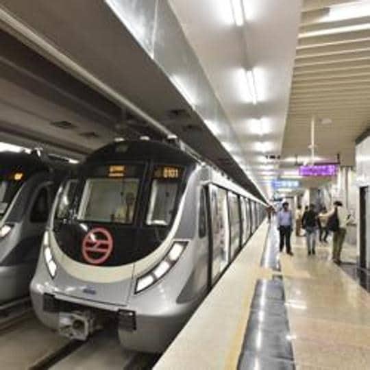 New Delhi, India - September 28, 2019: A view of the Dwarka - Najafgarh metro corridor of Delhi Metro, at Dwarka Metro Station, in New Delhi, India on Saturday, September 28, 2019. (Photo by Sanjeev Verma / Hindustan Times)