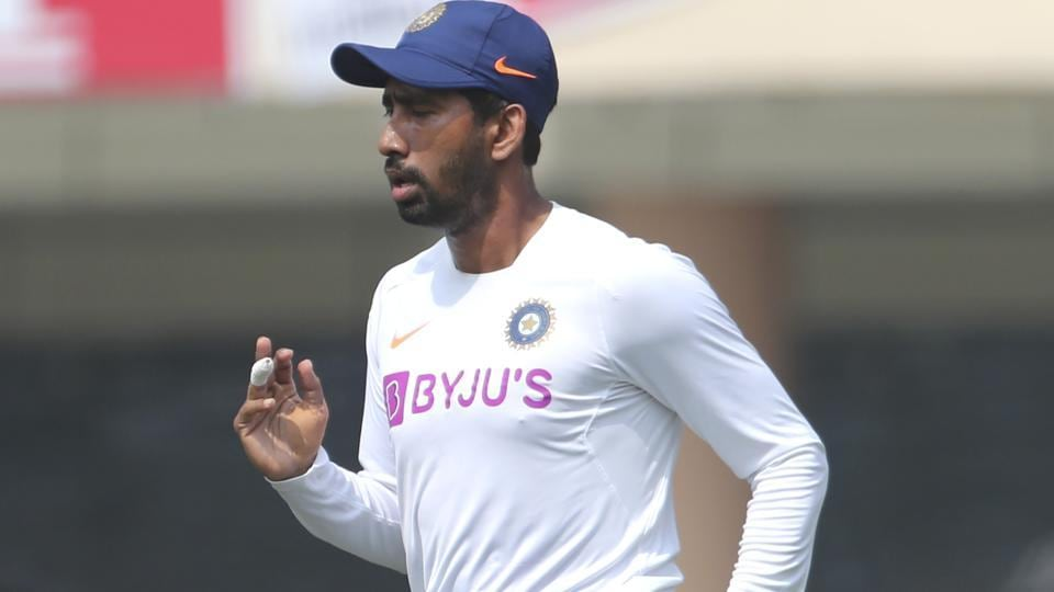 India's Wriddhiman Saha attends a training session.