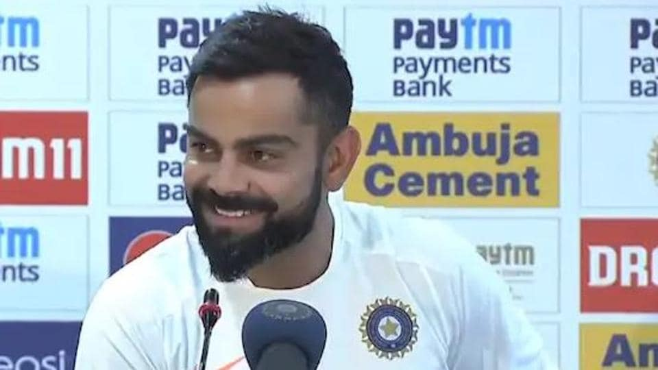 Indian captain Virat Kohli speaks at the post match press conference after India beat South Africa at Ranchi.