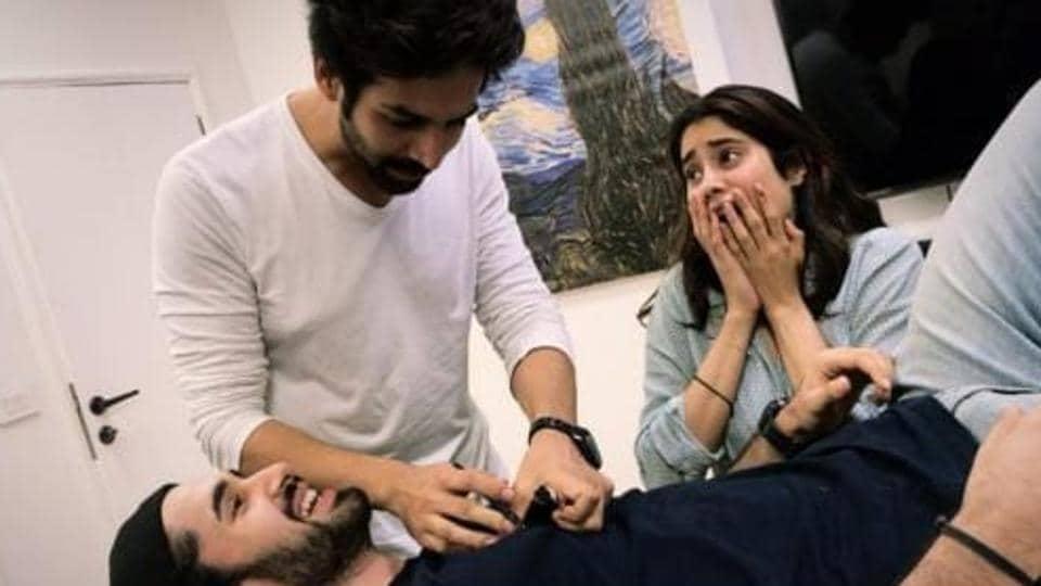 Dostana 2 stars KartikAaryan, Janhvi Kapoor and Lakshya prepare for Karan Johar's new production.