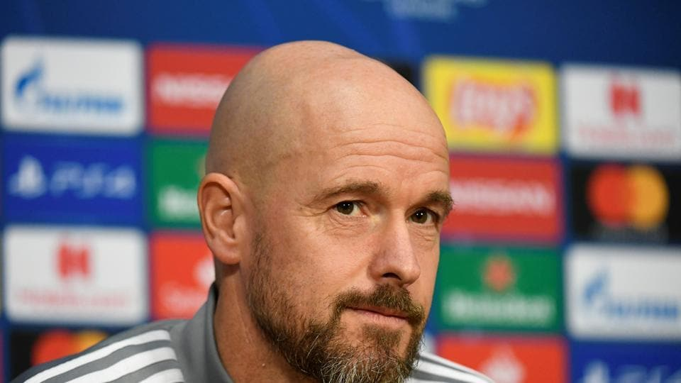 Ajax Amsterdam coach Erik ten Hag during the press conference.