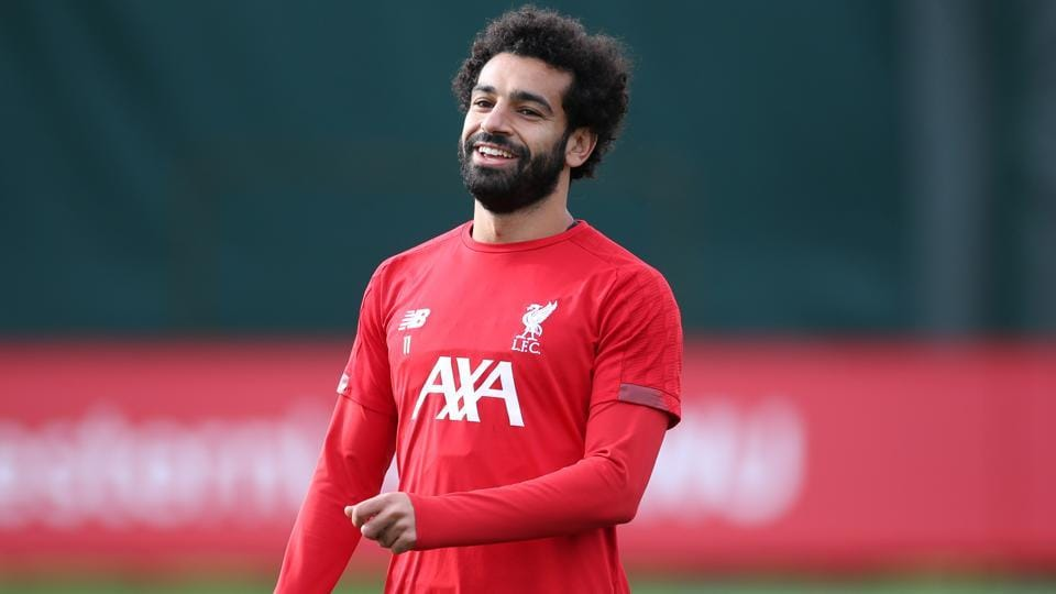 =Liverpool's Mohamed Salah during training.