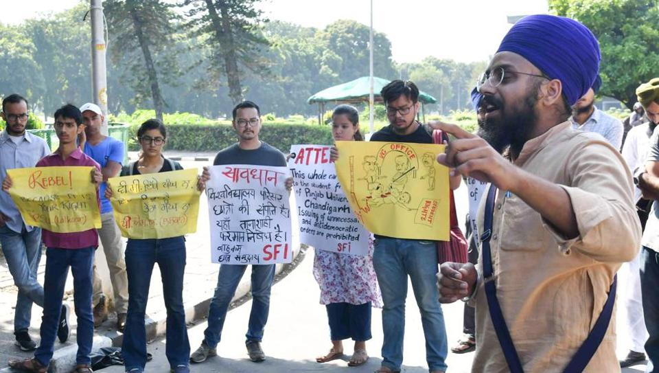 Members of various student bodies protesting in front of the vice-chancellor's office at Panjab University in Chandigarh on Monday.