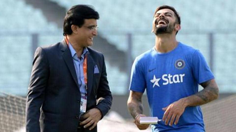 Sourav Ganguly with Virat Kohli (R).