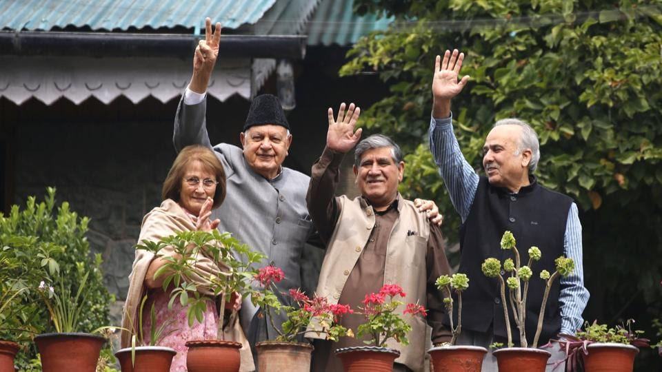 National Conference  president Farooq Abdullah with a delegation at his residence-cum temporary detention centre, in Srinagar earlier this month.