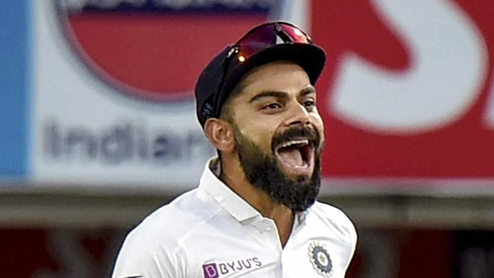Ranchi: Indian captain Virat Kohli celebrates the dismissal of South Africa's Quinton de Kock.