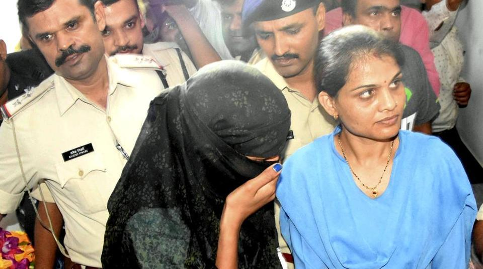 One of the accused of the gang of extortionists being produced in a Bhopal court in September.