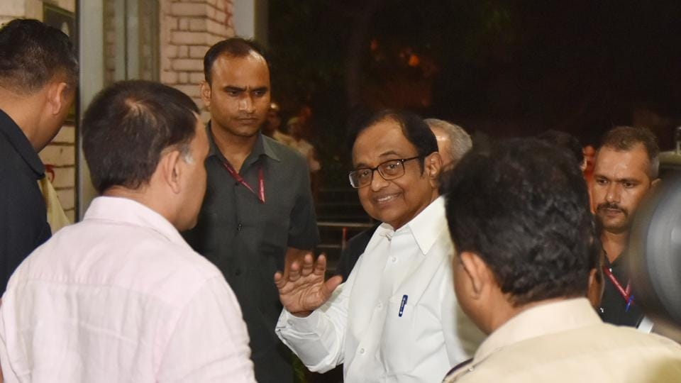 P Chidambaram, Former Finance Minister, arrives at Enforcement Directorate office for further questioning in relation to the INX Media case at Khan Market in New Delhi.