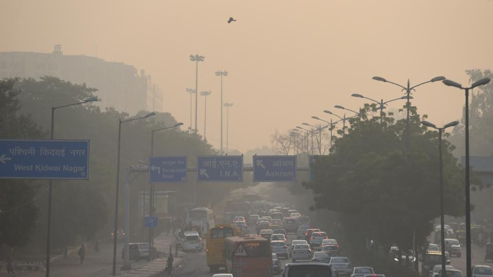 A view of smog leading to pollution near AIIMS flyover in New Delhi, on Monday, October 21, 2019.