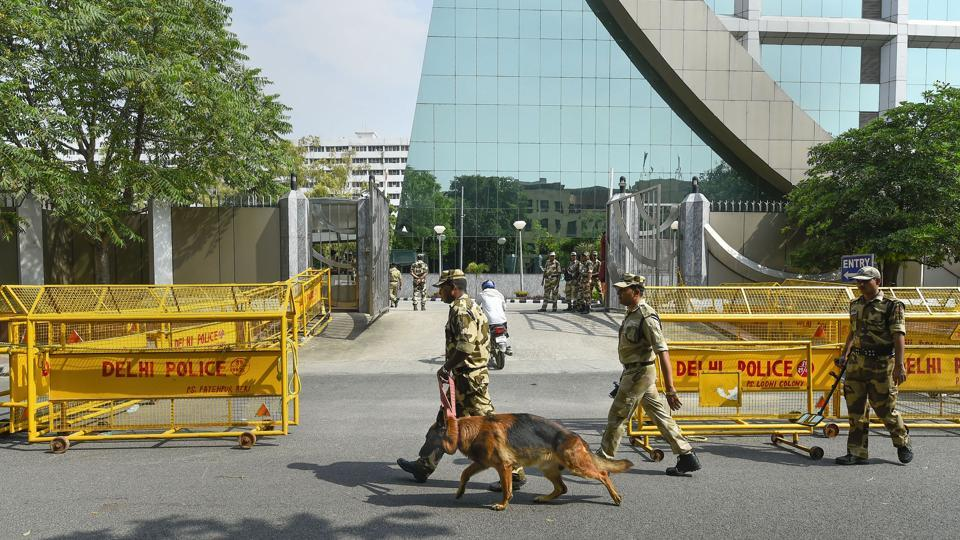 CISF personnel deployed outside the CBI Headquarters in New Delhi.