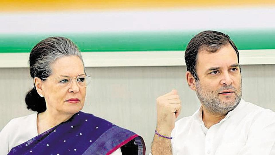 Sonia Gandhi and Rahul Gandhi at a Congress Working Committee meeting in New Delhi.