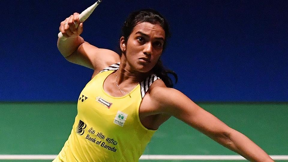 PV Sindhu of India in action during French Open.