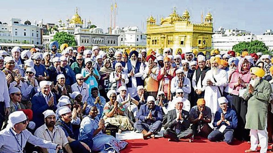 The delegation of envoys at the Golden Temple in Amritsar on Tuesday.