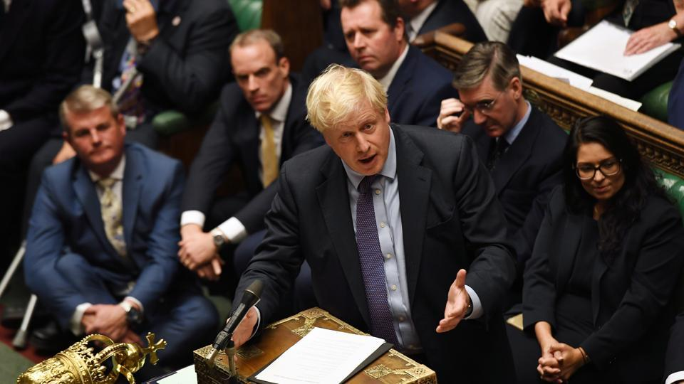 Britain's Prime Minister Boris Johnson is seen at the House of Commons in London.