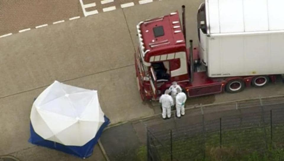 The 39 unidentified people in container were pronounced dead at the scene in Grays.