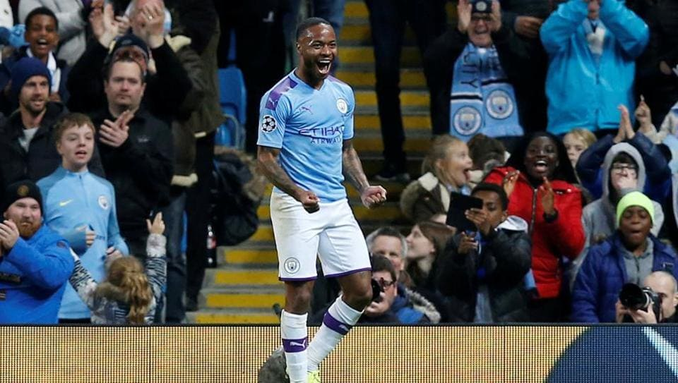 Manchester City's Raheem Sterling celebrates scoring their fifth goal and completing his hat-trick