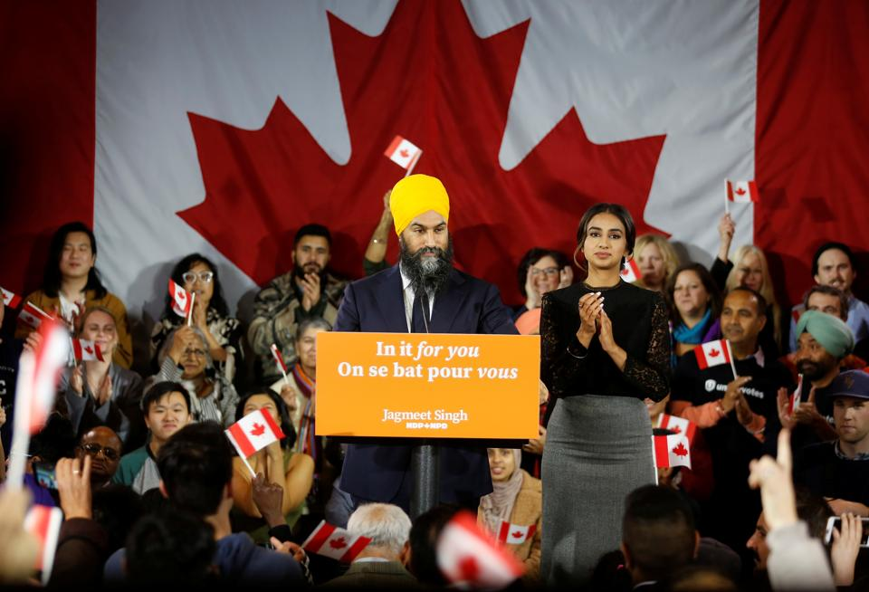 New Democratic Party leader Jagmeet Singh speaks to supporters after he was re-elected in Burnaby South at an NDP election night party in Burnaby, British Columbia, Canada.