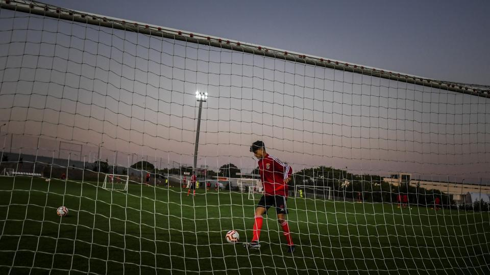 A Benfica's under 15 player attends a training session at Benfica's Football Academy in Seixal, Portugal. Benfica, who hosted Lyon on Wednesday in the group stage of the Champions League, are reaping the rewards from the club's academy base opened in 2006 in Seixal, a working class suburb on the south coast of the Tagus estuary. (Patricia De Melo Moreira / AFP)
