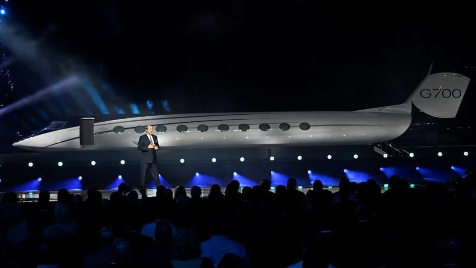 Gulfstream Aerospace Corp. President Mark Burns speaks during the unveiling of the company's new G700 business jet during a news conference at the National Business Aviation Association (NBAA) exhibition in Las Vegas, Nevada, U.S. October 21, 2019.