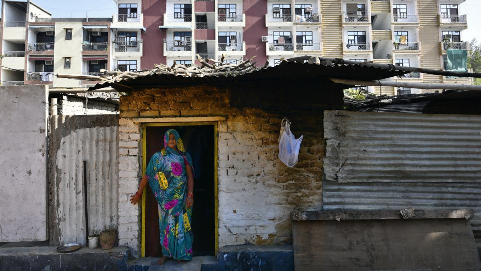 A view of unauthorized Shree Sai Kunj Colony at Vasant Kunj in New Delhi.