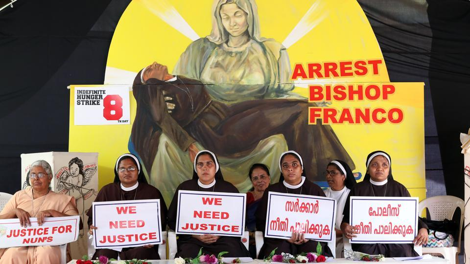 File photo of nuns holding placards during a protest demanding justice for the nun who has accused Bishop Franco Mulakkal of sexual assault.