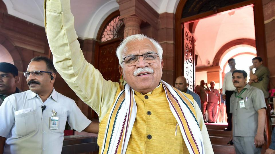 Haryana Chief Minister Manohar Lal Khattar is seen at Parliament House in New Delhi.
