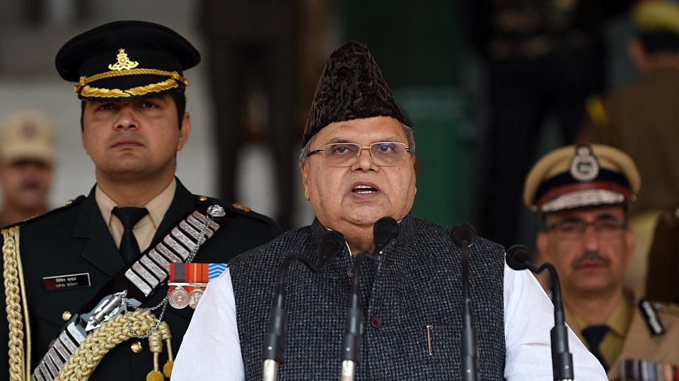 J&K Governor Satya Pal Malik delivers speech during a ceremony to mark the Police Commemoration Day at the Police Training Centre in Srinagar on Monday.